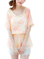 Ladies Imitation Pearl Decor Elastic Waist Round Neck Chic Blouse