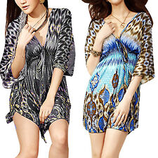 Double V Neck Butterfly Sleeve Stretchy Mini Dress for Lady