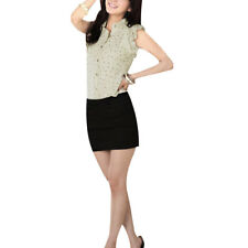 Lady Flouncing Short Sleeve Single Breasted Dots Pattern Blouse