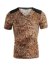 Mens Casual Leopard Pattern Short Sleeve NEW Summer T-shirt Tops