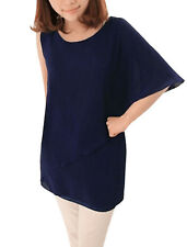 Ladies Scoop Neck Asymmetrical Sleeve Semi Sheer Tunic Shirt