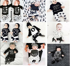 Newborn Toddler Baby Boys/Girls Cotton Tops+Pants Kids Casual Clothes Sets