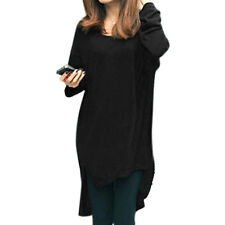 Women Round Neck Long Batwing Sleeves High Low Hem Casual Tunic T-Shirt