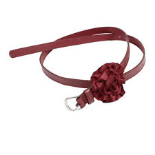 Women Single Pin Buckle Flower Detail Faux Leather Waist Belt