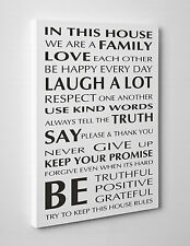 In This House Quote on Canvas Print Wall Art Ready to Hang LARGE A1 A2 A3 A4 01