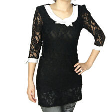 Women Scoop Neck Pullover Half Sleeve Cute Lace Tunic Shirt