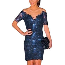Ladies Pullover Mesh Panel Full Lined Short Sleeves Lace Sheath Dress