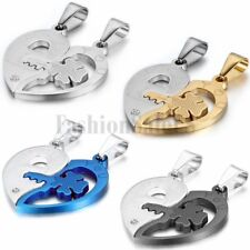 "2pcs Couple's Men Women Stainless Steel ""I Love You"" Lock&Key Pendant Necklaces"