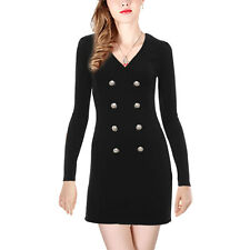 Woman V Neck Long Sleeves Button Down Leisure Stratchy Dress