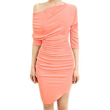 Women Off Shoulder 3/4 Dolman Sleeves Ruched Design Pencil Dress