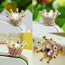 Crystal Crown Earphone Jack Anti Dust Plug Cap Stopper for CellPhone 3.5mm 3FK