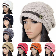 New Women Braided Winter Warm Baggy Beanie Knit Oversized Crochet Ski Hat Cap 35
