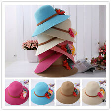 New Fashion Women Girl 6 Flowers Cap Wide Large Brim Summer Beach Straw Sun Hat