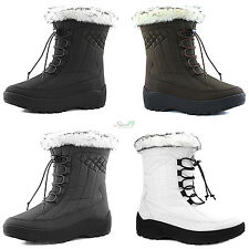 Women's Ankle High locked Lace Up Warm Fur Water Resistant Eskimo Snow Boots