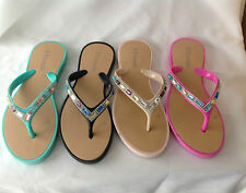 WOMENS LADIES DIAMANTE FLIP FLOPS JELLY SANDALS SUMMER TOE POST BEACH SHOES SIZE