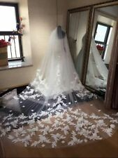 Hot 1L 3M Bridal Wedding Veil Cathedral Length Lace White/Ivory Flowers Handmade