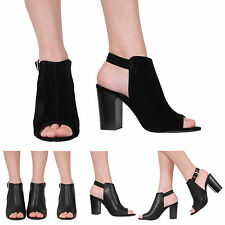 WOMENS LADIES PEEPTOE BUCKLE CHUNKY HIGH BLOCK HEEL PARTY SANDALS SHOES SIZE 3-8