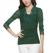 Women Scalloped Neck Long Sleeves Lace Panel Ruched Sides Slim Fit Mesh Top