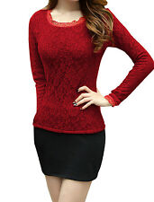 Women Long Sleeve Round Neck Lace Cuff Fleece Lined Top Shirt
