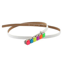 Plastic Beads Detail Press Buckle Faux Leather Thin Waist Belt Band for Ladies