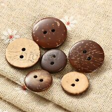 100X Brown Coconut Shell 2 Holes Sewing Buttons Scrapbooking Crafts DIY Tool Set