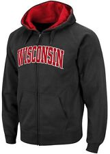 Wisconsin Badgers NCAA Mens Full Zip Embroidered Hoodie Big & Tall Sizes