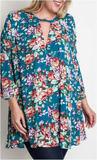 XL-1X-2X Umgee Jade Floral Dress Trapeze Swing Cut Boho Bell Sleeve Tunic-Plus