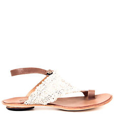 Cydwoq Dive Women's Flat Crochet Knit Leather Sandal with Buttoned Ankle Strap