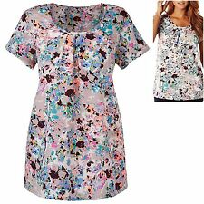 Marisota size 12 18 Blouse Top Floral Print Pleat Neck Easy Care Grey Pink Blue