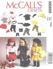 """Butterick 6669 - 18"""" Doll Clothes Craft Sewing Pattern"""