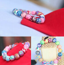 Charm Womens Lucky round Painted Polymer Clay beads Cuff Bracelet Jewelry Gift