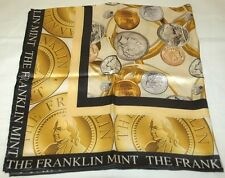 "Franklin Mint The Golden Coin 100% Silk Scarf 34"" square BRAND NEW in Package"