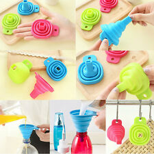Silicone Gel Practical Collapsible Foldable Funnel Hopper Kitchen Tool NEW