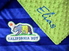 PERSONALIZED BABY BLANKET California Boy baby shower boy girl Plush & Minky
