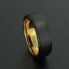 Mens Wedding Bands 8mm Tungsten Rings Black Step Edge Gold Inner Comfort Fit