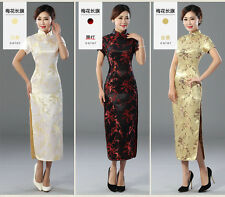 golden Chinese style women's silk/satin evening dress Ball long Cheongsam S-6XL