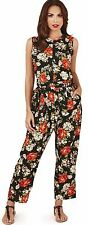 Pretty Ladies Rose Print Jumpsuit with Belt and Rear Zip, Black/Red