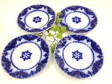 """Vintage 4 Johnson Bros England Albany Flow Blue 7"""" Bread & Butter Plates"""
