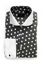 Steven Land Men's Black/White Polka Dot 100% Cotton Dress Shirt Style DW1600