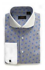 Steven Land Men's Blue Polka Dot 100% Cotton Dress Shirt Style DW1600