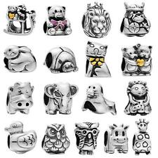 Fine 925 Sterling Silver Charms Cartoon Animal Bead Fit European Bracelet H3G4