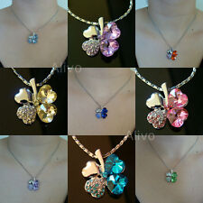 NEW SILVER 4 LEAF CLOVER HEART CRYSTAL FLOWER LOVE LUCKY GIRL'S PENDANT NECKLACE