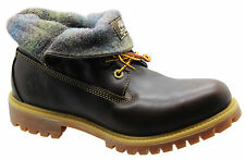 Timberland AF Roll Top Mens Boots Dark Brown Leather Woolrich Winter 6830A D47