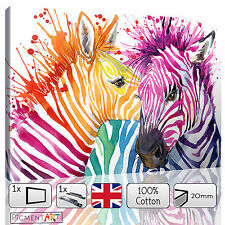 LARGE ZEBRA COLOURFUL ANIMAL ABSTRACT MODERN LOVE CANVAS WALL ART PRINT PICTURES