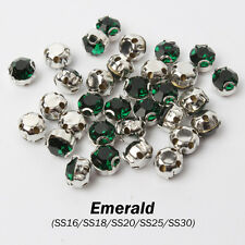 "Emerald SS16 SS18 SS20 SS30 Rhinestone in Claw ""D"" Sew on Metal Claws for Garme"