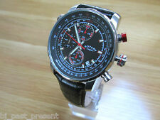 MENS ROTARY CHRONOGRAPH MULTI DIAL WATCH BLACK DIAL BLACK LEATEHR STRAP