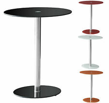 Round Glass Side End Lamp Table Black White Red Orange Occasional Coffee Table