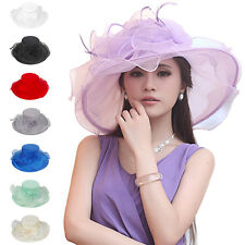 Kentucky Derby Horse Racing Day Tea Party Church Dress Wide Brim Organza Sun Hat