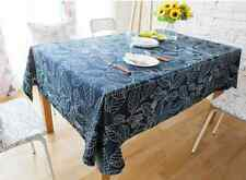 Elegant Blue Big Leaf Leaves Dinning Coffee Table 100% Cotton Cloth Covering O