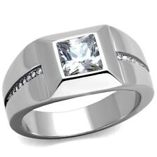 Men's Stainless Steel 316 Cushion Cut Cubic Zirconia Flush Setting Ring